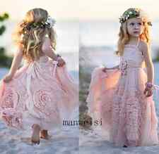 Lovely Tutu Pink Flower Girl Dresses Tulle Custom Crystals Birthday Party Gown