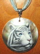 Genuine RUSSIAN hand painted round Black Lip Shell WHITE SIBERIAN TIGER pendant