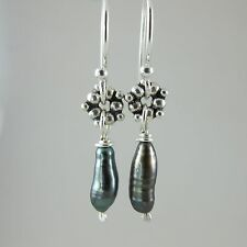 one of a kind RARE sterling Tahitian keshi pearl earrings