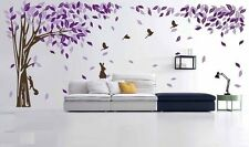 Asmi Collections Wall Stickers Beautiful Large Purple Tree Birds Squirrel Rabbit