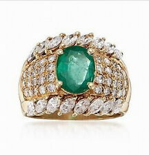 18K Yellow Gold Natural Colombia Emerald 2.45ct Full Cut Diamonds Mens Ring