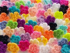100! Pretty Crochet Wool Flowers - Great Colour Mix Flower Embellishments