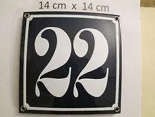 Emaille-Hausnummer Nr. 22 weisse Zahl auf blauem Hintergrund 14 cm x 14 cm