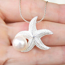 #P254   Pendentif Etoile de Mer Argent Massif 925  avec véritable Perle
