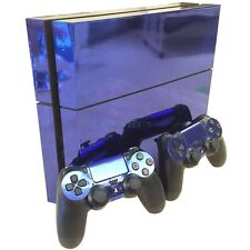 Blue Glossy Decal Skin Sticker for Playstation 4 PS4 Console+Controllers
