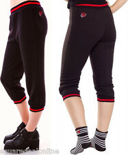 130239 Black & Red Rose Fleece Capris Sourpuss Cozy Winter Stretchy Punk Large L