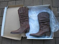 STEVE MADDEN Womens Saddle Brown Slouch Leather Western Cowboy Boot 7 Cowgirl