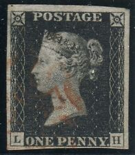 Sg 2 1d Black Plate 1b LH.  A very fine used 4 margin example with Red Maltese