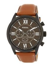 NEW FOSSIL BLACK TONE,LUGGAGE BROWN LEATHER BAND,CHRONO.ROMAN #'S WATCH BQ2042