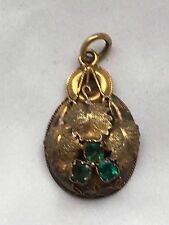 antique victorian tested 15k emerald gold Pendant -2.3g