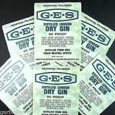 GES Dry Gin 6 Vtg Liquor Bottle Label Lot New Old Stock Shady Wood Kentucky 90pf