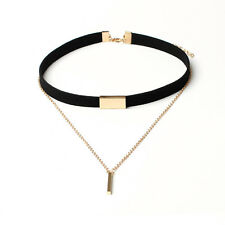2017 Lady Women Velvet Choker Necklace Gold Plated Chain Pendant Fashion Jewelry