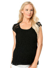 NWT $165 Ella Moss Pea in the Pod Maternity Black Career Lace Blouse Shirts L