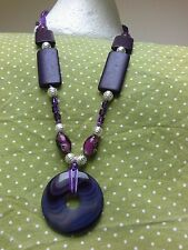 OOAK NECKLACE Luxe Boho Purple AGATE Donut Murano Glass Wood Stardust beads GIFT