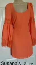 NWT BEBE BELL SLEEVE SHIFT DRESS SIZE M Boho-romantic georgette shift dress WOW!