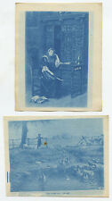 SET OF 2 VINT CYANOTYPE IMAGES YOUNG LADY AT DESK   GIRL BY LAKE W/ GEESE