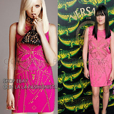 VERSACE X H&M NEW rare MINI DRESS PINK GOLD STUDDED CELEBRITY DESIGNER SUMMER