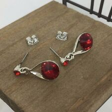 High Quality Red Crystal Titanium Stud Earrings US Seller Made in Korea