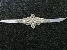 Silver White Rhinestone Diamante Bridal Belt Sash Vintage Wedding Beaded 5AU