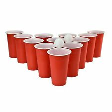 Original Beer Pong Adult Drinking Game Set 12 Red Plastic Cups 2 Ping Pong Balls