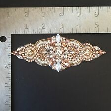 Rose gold Rhinestone Applique-Wedding Trim-Bridal Belt - DIY USA SELLER