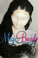 Fully Braided Lace front wig micro corn row with box braids color 1 black LALA