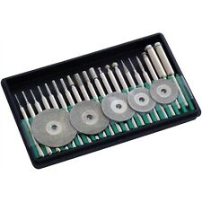 25PC Micro Diamond Burrs Cutting Disc Set Fits Mini Rotary Drill jewellers Tools