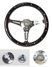 """1970 - 1977  Mustang Steering Wheel 14"""" Dark Wood Classic Style Ford Center Cap"""