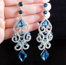 SEXY AUSTRIAN CRYSTAL RHINESTONE GOLD CHANDELIER DANGLE EARRINGS BRIDAL E2084