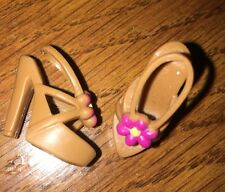 Barbie Brown Heels Fuchsia Pink Flower Daisy Open Toe Sling Back Sandals Shoes