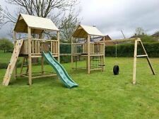 The WORKS Double 6ftsq QUALITY WOODEN CLIMBING FRAME RRP £1795 with MONKEY BARS