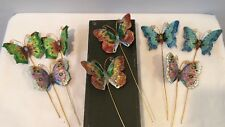 VTG Lot of 8 Cloisonne Butterfly On Metal Stick For Jewelry Making Hair Combs