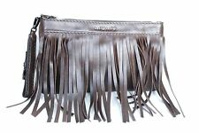 New Miu Miu Large Fringed Leather Pouch Brown Clutch Bag