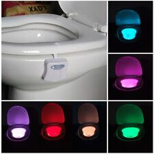 8 Color LED Bathroom Toilet Seat Light Body Sensing Motion Activated Night Light