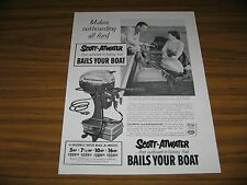 1954 Print Ad Scott-Atwater Bail-A-Matic Outboard Motors Bails Your Boat