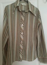 Vintage 70's retro Light Brown striped Women's Shirt Long Sleeves size 14