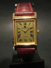 A71 NEW WOMEN'S JB CHAMPION Gold Dress Leather Band WATCH Square VINTAGE Dress