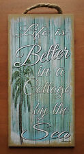 LIFE IS BETTER IN A COTTAGE BY THE SEA Palm Tree Beach Home Decor Wood Sign NEW