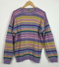 VTG RETRO BRIGHT BOLD CRAZY COSBY 80s KNITTED JUMPER SWEATSHIRT HIP HOP BIGGIE L