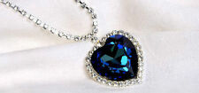 Blue Heart & Crystal Titanic Necklace Large Pendant Heart of the Ocean Gift