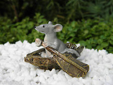 Miniature Dollhouse FAIRY GARDEN ~ Gray Mouse Rowing a Boat ~ NEW