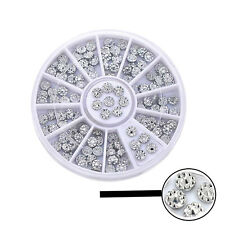6cm NAIL ART GEMS JEWELS DESIGN CRAFT NAILS WHEEL ROUND SILVER DIAMOND DESIGN