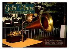 Gold Plated Phonograph Fort Myers Florida Postcard Edison Museum Battery Power