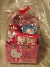 Pink Hello Kitty Birthday Gift Basket Candy Stickers Colored Pencils & Bank