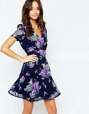 Yumi Tea Dress in Swallow and Rose Print Navy UK 14