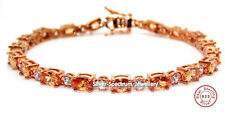 Sterling Silver Rose Gold Morganite And Diamond 7.86ct Tennis Bracelet (925)