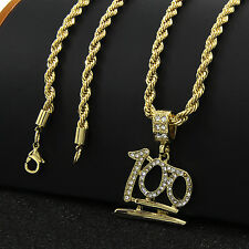 "New Mens 14k Gold Plated Emoji 100 Cz Pendant Hip-Hop 24"" 4mm Rope Chain D543"
