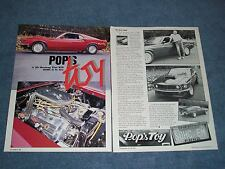 """1969 Ford Mustang SportsRoof Fastback Vintage Article """"Pop's Toy""""  427 SOHC"""