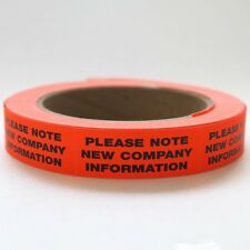 "250ct. 3/4"" x 2"" ""NEW INFO"" FLUORESCENT STICKER LABEL COMPANY ADDRESS CHANGE"