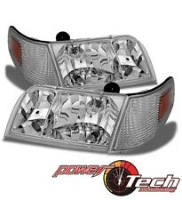 1998-2011 Ford Crown Victoria Headlights w/Corner Parking Lights Pair Left+Right